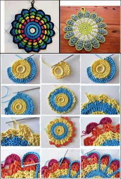 Circles of the Sun Mystery CAL 2015 - overlay crochet - Block 5 crochet pattern by LillaBjornCrochet Freeform Crochet, Crochet Motif, Crochet Doilies, Crochet Yarn, Crochet Stitches, Crochet Squares, Crochet Blocks, Free Mandala Crochet Patterns, Crochet Designs