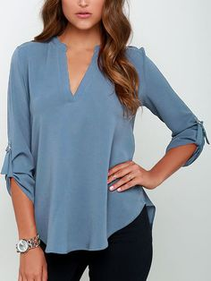 Shop Blue V Neck High Low Blouse online. SheIn offers Blue V Neck High Low Blouse & more to fit your fashionable needs.