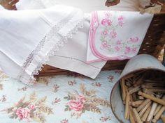 Vintage linens & clothespins