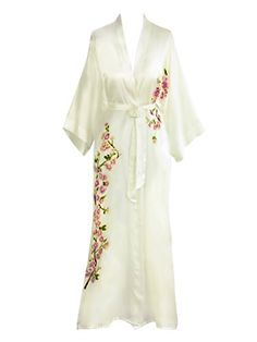 Old Shanghai Women's Silk Kimono Long Robe - Handpainted - Peacock (White)