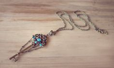Blue Magical Key Necklace  Fantasy Key Necklace by MieMoeShop