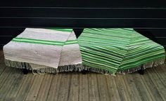 Liljan Lumo: Rag rugs for the cottage terrace benches. Designed and knitted by Tiina Lilja/ Liljan Lumo