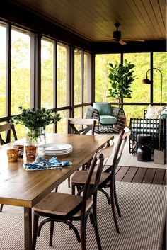 Screened Porch with Dark Brown Ceiling and Floor