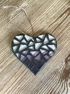 Stained Glass Mosaic Heart Ornament Purple Ombre by BlueOceanGlass