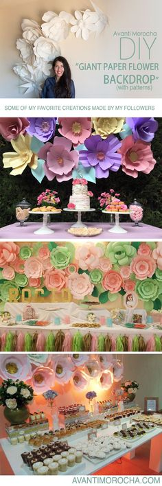 """DIY """" Giant Paper Flower Backdrop"""" Weddings, event decor. Download the flowers templates for free on avantimorocha.com / Please don't forget to share your creations on my Facebook page https://www.facebook.com/La...  or tag me on Instagram @avantimorocha_"""