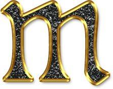 Alfabeto Negro con Orilla Dorada. Letras minúsculas. Letra m.