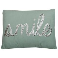 Shop for Thro by Marlo Lorenz Smile Sequin Script Feather Filled 14 x 18 Pillow. Free Shipping on orders over $45 at Overstock.com - Your Online Home Decor Outlet Store! Get 5% in rewards with Club O!