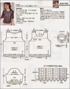 Blusa crochet de media manga / patrones gratis | Crochet y Dos agujas - Patrones de tejido