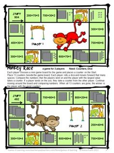 Place Value Games FREEBIE 3 Digit Numbers Board Games - from Games 4 Learning - 2 printable Place Value Games for 3 Digit Numbers.