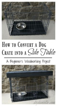 DIY Dog Crate Table Topper - DIY Danielle® This metal dog crate was an eyesore in the family room, but with a few and some plywood this c Puppy Crate, Diy Dog Crate, Large Dog Crate, Large Dogs, Dog Crate End Table, Crate Bed, A Table, Metal Dog Kennel, Diy Dog Kennel