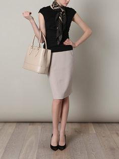 Black & neutral | fashion | outfit ideas | work style | Lisette L | work skirt | shapers | slimwear | pants | slimming | control top |