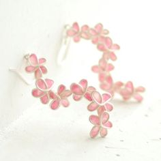 Pink Forget Me Not Earrings, Flower Floral, Dangle, Paper Jewelry... $70.00 http://etsy.me/nr8dGZ