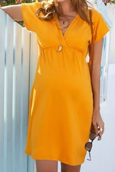 Women Pregnant Nusring Maternity Short Sleeve Solid V-Neck Dress Maternity Business Casual, Business Casual Dresses, Maternity Dress Outfits, Maternity Shorts, Dresses For Pregnant Women, V Neck Dress, Short Sleeve Dresses, Fashion Outfits, Pregnancy Clothes