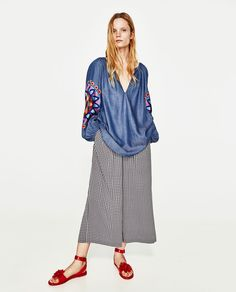 ZARA - FEMME - TOP BRODÉ Style Inspiration, Pants, How To Wear, Clothes, Dresses, Image, Fashion, Templates, Full Sleeves