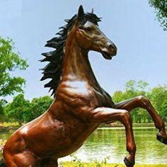 "89"" Tall Brass Rearing Horse Statue"