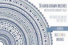 Here you can see a set of thirty hand drawn vector pattern brushes for Adobe Illustrator. You will be able to: - repaint every brush in any color with Tribal Patterns, Doodle Patterns, Confetti Background, Vector Brush, Business Illustration, Creative Sketches, Art Sketches, Seamless Background, Different Textures