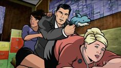 Archer she's down. I think she peed  #archer. Archer beats Pam with dolphin.