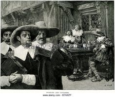 puritans cavaliers drinking law street sword men weapon hat tavern A Puritan of 16th and 17th century England was - Stock Image