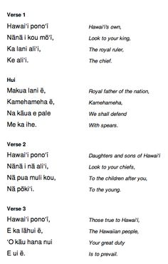 State Song Of Hawaii Words Were Written By King David Kalakaua In 1874 Music