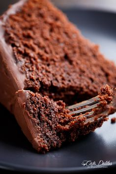 The most amazing, ONE BOWL, BEST Fudgy Chocolate Cake is so rich and decadent, with the perfect balance of fluffy and fudgy!