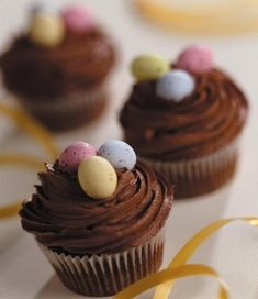 Easter Chocolate Cupcakes Recipe: These Easter Chocolate Cupcakes are great for sharing this Spring, Or top with your favourite sweet for an all year round treat. - One of hundreds of delicious recipes from Dr. Chocolate Butter, Easter Chocolate, Chocolate Cupcakes, Butter Icing, Sugar Icing, Easter Cupcakes, Savoury Cake, Mini Cakes, Cup Cakes