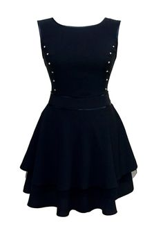 If it was longer tho, this dress is cute!! Flared Black Mini Skirt Dress For Teens With Stud by JERSA Dress