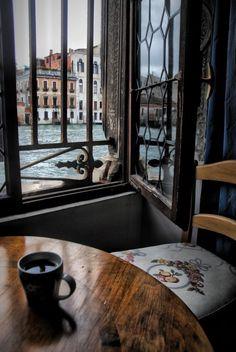Enjoying coffee in Venice…