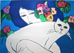 "Limited Edition Print ""Woman with Cat and Flowers"" by Walasse Ting"