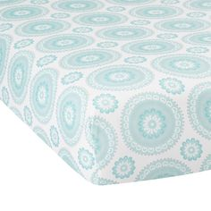 Lambs & Ivy Classic Aqua Medallion Fitted Crib Sheet #LambsIvy
