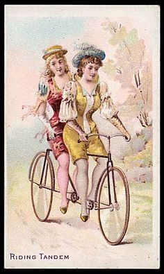 Bicycle and Trick Riders Tandem Bicycle, Bicycle Women, Bicycle Art, Antique Bicycles, Vintage Cycles, Bike Brands, Cycling Art, Illustrations, Cool Bikes
