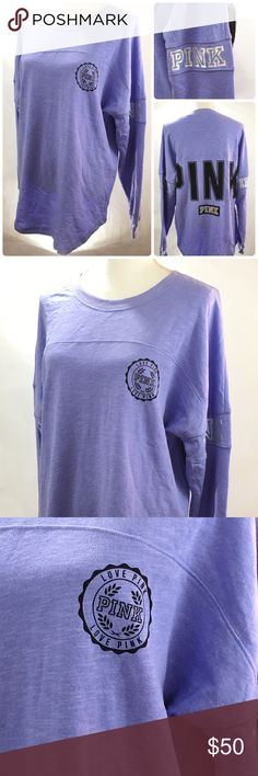 Victoria's Secret Pink Boyfriend Purple SweatShirt AUTHENTIC - Victoria's Secret Pink Boyfriend Pullover sz Medium Purple Graphic Logo Sweat Shirt v54 *NEW with Tags *Oversized, Relaxed, Logo on Back **********PRICE FIRM / SORRY NO  TRADES*********** PINK Victoria's Secret Tops Sweatshirts & Hoodies