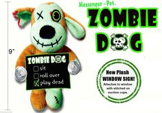 """Zombie Dog Halloween fun Window Decoration for Dog Lovers Great Gift """"Play Dead"""""""