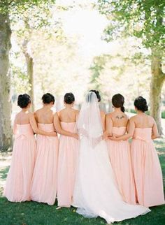 Asian girls in blush gowns