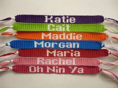 this website shows you how to make letters in your friendship braclets!! http://friendship-bracelets.net/pdf/specials/letters.pdf