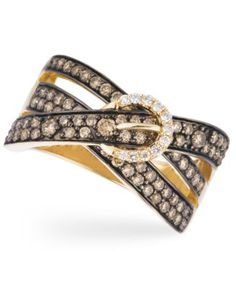 Le Vian 14k Gold Ring, Chocolate Diamond (1 ct. t.w.) and White Diamond Accent 3-Row Buckle Ring
