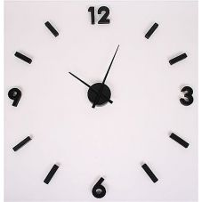 Klocka med lösa siffror - Nilssons Möbler i Lammhult AB. Really nice clock for a white wall. Black clock with loose figures that are put up on the wall with adhesive tape. Black Clocks, White Walls, Really Cool Stuff, Indoor, Nairobi, Home Decor, Adhesive, Tape, Furniture