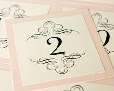 Nouveau Table Number Wedding Twenties Handmade cream pink elegant custom Great Gatsby flapper wedding sign