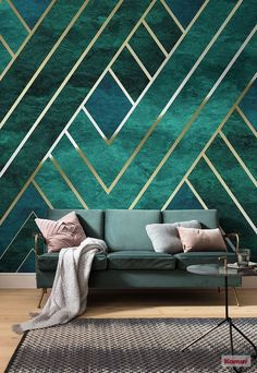 45 The Best Interior Design Using Wallpaper To Add To The Beauty Of Your Home Interior Design art deco interior design Tapetes Art Deco, Interiores Art Deco, Tapete Gold, Art Deco Living Room, Art Deco Room, Art Deco Decor, Art Deco Wallpaper, Interior Wallpaper, Bedroom Wallpaper Wall