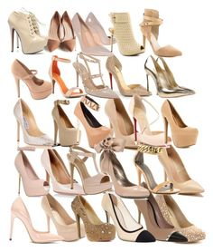 """All of the nude heels I've purchased yay"" by happyness0828 ❤ liked on Polyvore featuring INC International Concepts, Dsquared2, Giorgio Armani, Salvatore Ferragamo, Maiden Lane, Christian Louboutin, Jimmy Choo, Valentino, GUESS by Marciano and Casadei"