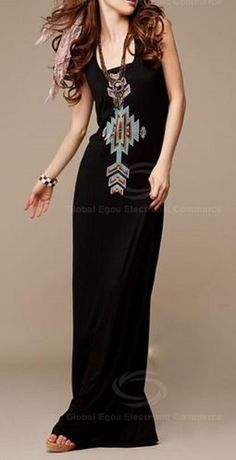 Love Love LOVE this Dress Design! Love the Colors! Love the Accessories! Chic and Comfy Weekend Style! Comfy Bohemian Style Black and Turquoise Stretch Scoop Neckline Sleeveless Cotton Tribal Maxi Dress #Black #Boho #Chic #Comfy #Casual #Weekend #Fashion #Tribal #Maxi #Dress #Outfit #Ideas