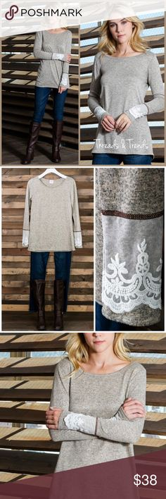 Lace Cuffed Top Heather grey lace cuffed detail top. Everyday anywhere wear. Where to work or for a casual weekend. Super comfortable cotton/Rayon & spandex blend. Size S, M, L, XL Threads & Trends Tops