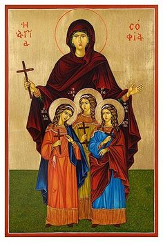 Icon of Saint Sofia and Faith, Hope and Love painted by Marchela Dimitrova Bible Timeline, Greek Icons, Painting Courses, Archangel Gabriel, Byzantine Icons, Guardian Angels, Orthodox Icons, Love Painting, Three Kids