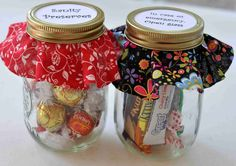 GIFT JARS ... filled for the occasion ... sanity preserves ... in case of emergency open jar ... teachers bar ...