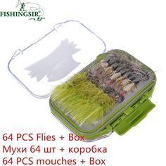 64/100/120PCS Fly Tying Material Fly Fishing Lure Dry/Wet Flies, Nymph Artificial Pesca Bait Lure Carp Trout Pesca Tackle/Box