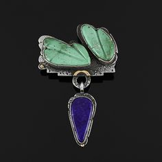 Wright's Indian Art: Broken Arrow Turquoise Leaves and Lapis Pendant by Jolene Eustace  $550.00