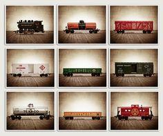 ON SALE Vintage Toy Train Prints, Set of Nine 8x10 prints, Nursery Decor, Rustic Decor Toy Trains, Baby room ideas, Boys Room Decor,. $99.00, via Etsy.