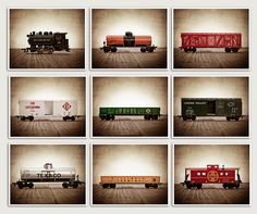 ON SALE Vintage Toy Train Prints, Set of Nine 8x10 prints, Nursery Decor, Rustic Decor Toy Trains, Baby room ideas, Boys Room Decor,. $99.00, via Etsy.