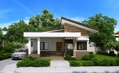 Elvira - 2 Bedroom small house plan with Porch - Pinoy House Plans Modern Bungalow House Design, Simple House Design, Cottage Design, Cool House Designs, Porch House Plans, Duplex House Plans, Bungalow House Plans, Simple House Plans, Beautiful House Plans