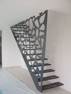 Very Nice Industrial Look for A Small Footprint Staircase Wooden Staircase Railing, Stair Railing Design, Interior Stairs, Home Interior, Stair Posts, Steel Stairs, Modern Stairs, Floating Stairs, House Stairs