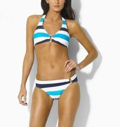 8b5ef8507b08e Ralph Lauren Striped Ring Halter Bikini-White Blue  33.00 Striped Bikini